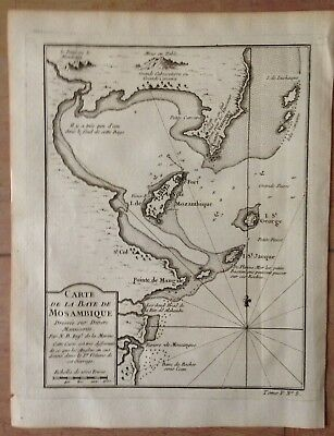 AFRICA BAYE OF MOZAMBIC 1754 by NICOLAS BELLIN ANTIQUE COPPER ENGRAVED MAP