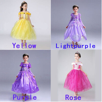 Kids Girls Princess Costume Fairytale Dress Up Belle Cinderella Aurora Rapunzel&