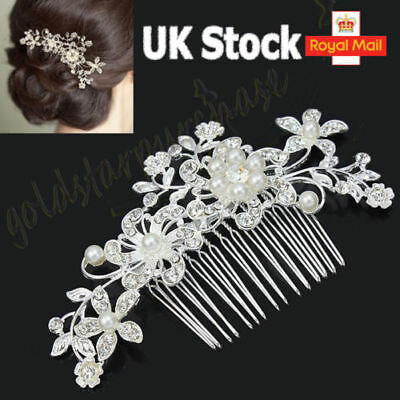 Elegant Bridal Wedding Hair Comb Pearl Crystal flower leaf Headpiece Fascinator