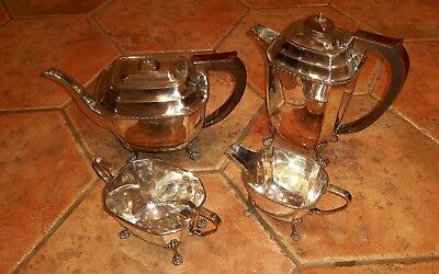 Antique Silver Plated Tea Service On 4 Claw Feet