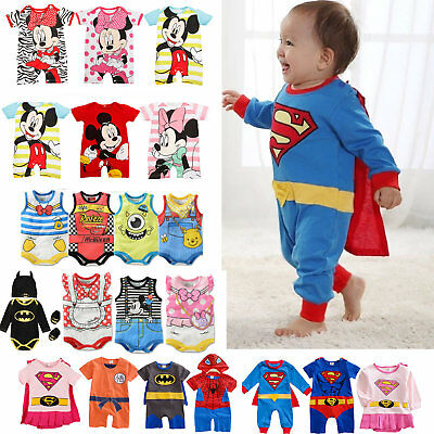 Newborn Kids Baby Boys Girls Rompers Bodysuit Jumpsuit Cartoon Clothes Outfits
