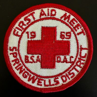 1969 First Aid Boy Scout Patch Springwells District Detroit Area Council Dac