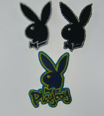 2x PLAYBOY BLACK BUNNY RABBIT 5cm 2inch Embroidered Sew On Patch Badge APPLIQUE