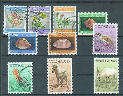 Oman 1982 Plants Shells, , Birds, Animals part set 10 values to 1r used