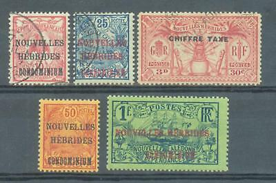 French New Hebrides 1910-25 sg.F7, F8, FD55 used F9, F10 MH
