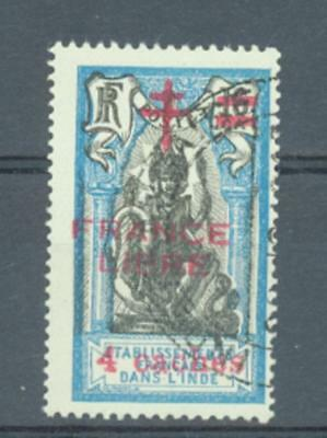 French Indian Settlements 1942 4Ca on 16Ca France Libre sg.197  used