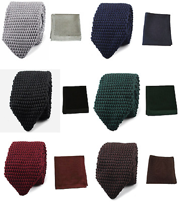 Hand Made Men's Knit Knitted Pointed Tie+Pocket Square Handkerchief Set Woven UK