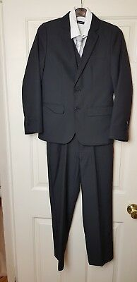 Boys 3 Piece Suit Black pin stripe with shirt and tie age 10-11