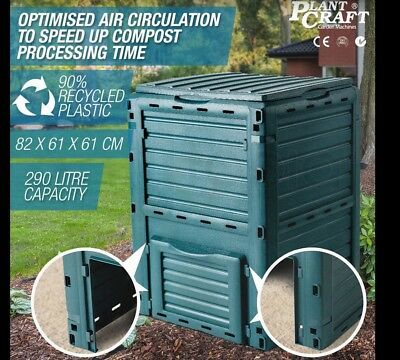 GREEN 290L Garden Plant Soil Recycling Composter Aerated Compost Bin Food Waste