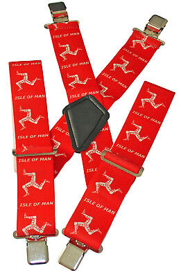 Iom Red Heavy Duty Elasticated Motorcycle Motorbike Rider Trouser Clip Braces