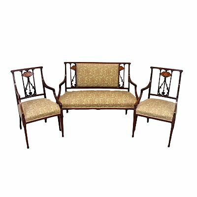 Reproduction Georgian Antique Inlaid Mahogany Sofa and Armchairs Suite