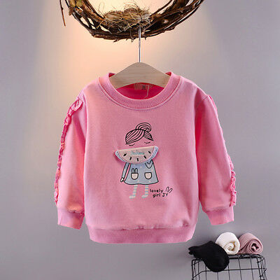 Toddler Baby Girls Clothes Casual Cotton Sweatshirts Cute Tops Solid Outerwear