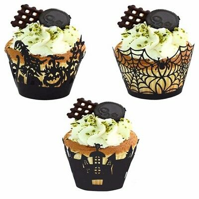 Black Muffin Spider Halloween Cupcake Cases Wrappers Wraps Party Decor Z