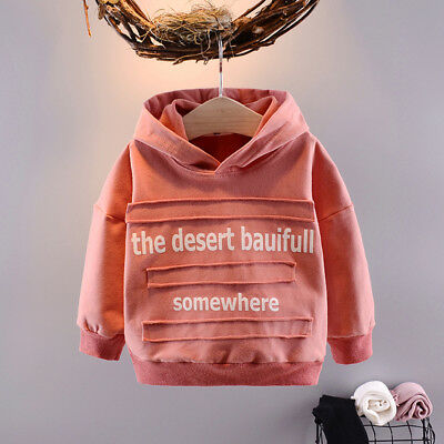Fashion Girls Clothing Baby Outerwear Hoodies Tops Letter Printing Cotton Coats