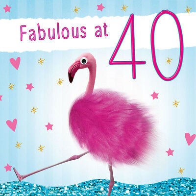 40th Birthday Card Female Flamingo 3D Goggly Eyes Fluff Funny Fabulous 40