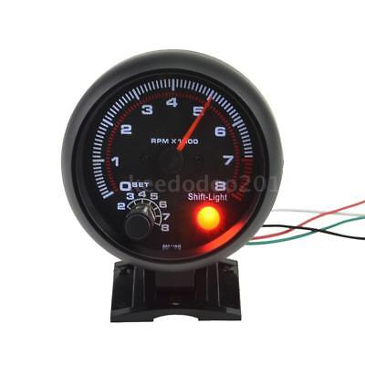 "3.75"" Universal Car Tachometer Gauge 0-8000 RPM White Inter Shift light Q9C1"