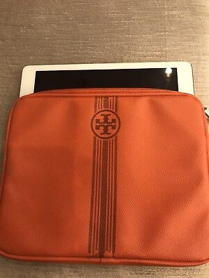 Tory Burch Tablet Ipad Case Sleeve Orange Gray Stripe Logo
