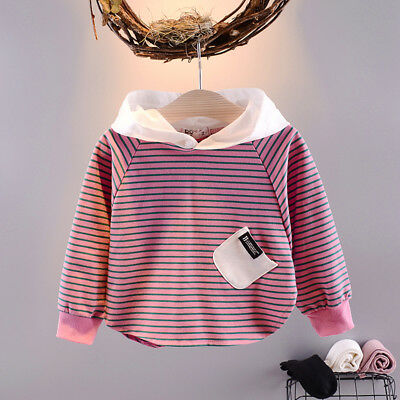 Baby Girls Clothing Striped Cotton Hoodies Sweatshirt Children Casual Simply Top