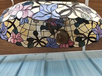 Vintage Large Tiffany Style Stained Glass Hanging Lamp Chandelier