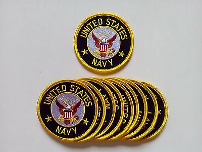 "10 Pcs US NAVY Embroidered Patches 3"" Diameter"