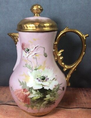 Antique Charles Field Haviland GDM France Limoges Pitcher Pink Gold  w/ Lid 10W