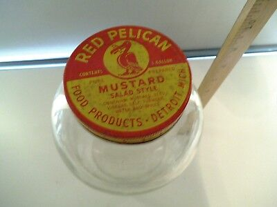Vintage Red Pelican Mustard Salad Style 1 Gallon Jar With Lid Detroit Mich.
