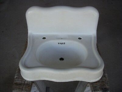 antique cast iron white porcelain barber scalloped serpentine bath sink