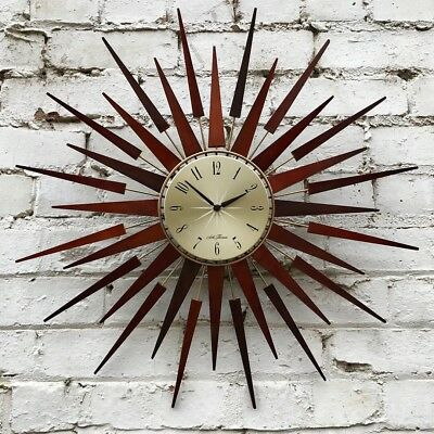 Vtg Mid Century 60's Seth Thomas Sunburst Starburst Teak Wall Clock Retro Atomic