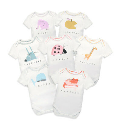 Short Sleeve Baby Set of 7  Essentials Bodysuits, 100% Organic Cotton without fl