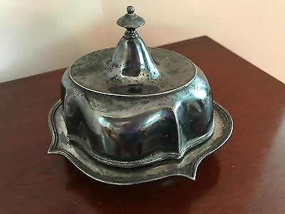 Antique Quadruple Silverplated 3-Piece Domed Butter Dish, Derby Silver Co, 1601