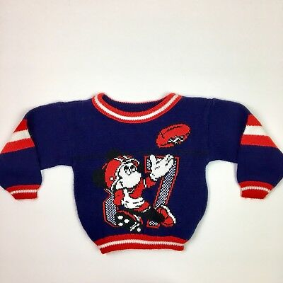 Vintage 80s Sweater Size 3T Mickey's Stuff For Kids Knit  Colorblack Football