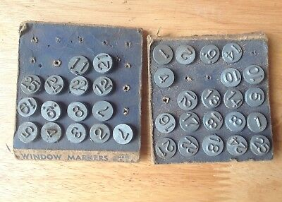 Vintage Acro Window number Tacks markers white brass steampunk altered art