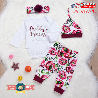 eed5fcd58 Baby Girls Daddy's Princess Romper Tops Pants Headband Hat Clothes Outfits  Sets