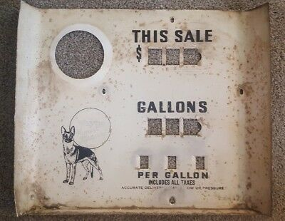 Vintage Wayne Gas Pump Porcelain Meter Face Sign-German Shepherd-Man Cave