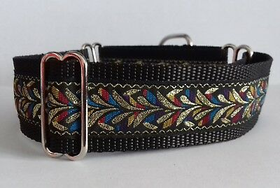 """Martingale Dog Collar 1.5"""" wide Whippet neck size 12""""-15"""" SMALL Multi colour"""