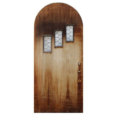 """Salvaged 36"""" Arched Door with Leaded Glass Windows, NED895"""