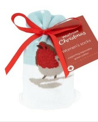 Waitrose Womens Xmas Robin Grey Socks in a Bag. Pack 0f 6, Each Price Marked £5