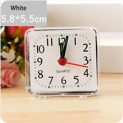 Square Small Bed Compact Travel Quartz Beep Alarm Clock Cute Portable UK