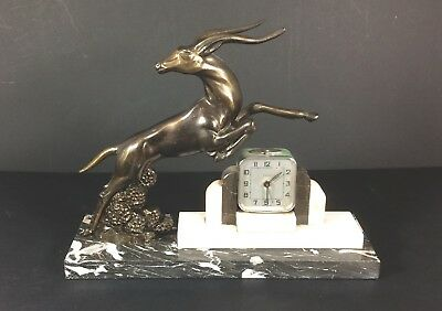 Bayard French Art Deco Alarm Mantle Clock  Marble Base Antelope circa 1930