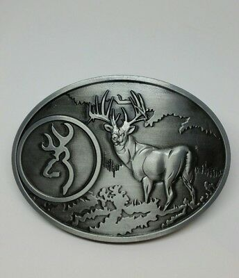 BROWNING Firearms Belt Buckle Grey Hunting Fashion Rodeo Deer BNS Oval Deni