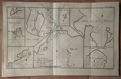 CHILI DAUPHINA'S BAY CAP UPRIGHT 1774 by JAMES COOK ANTIQUE ENGRAVED MAP