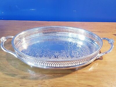 A Beautiful Vintage Silver Plated Gallery Tray With Engraved Patterns.