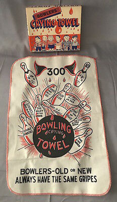 Vintage 1950s Bowling Anthropomorphic BOWLERS CRYING TOWEL Novelty + BOX