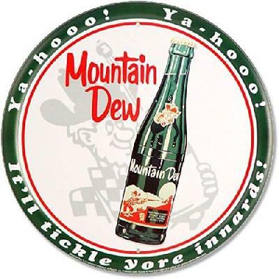 "Mountain Dew Bottle 12"" Round Metal Sign"