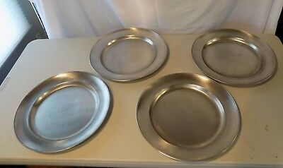 Set 4 Vintage Pewter Plates Chargers 95% Pewter Italy 13-1/4""
