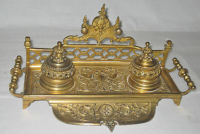 FRENCH c 1870s BRONZE ORNATE DOUBLE INKWELL, PEN HOLDER