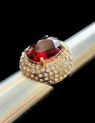 Vintage SIGNED Large Gold Tone Faux Ruby Ring Size 8 D099