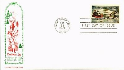 Dr Jim Stamps Us Christmas Joy Currier And Ives First Day Cover 1974 New York
