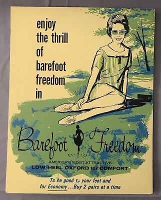 Vintage 1960s Women's BAREFOOT FREEDOM SHOES Counter DISPLAY SIGN #1