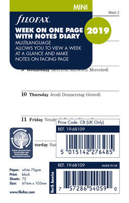 Filofax Week on a Page with Notes 4 Languages 2019 Calendar Refill - MINI- 68109